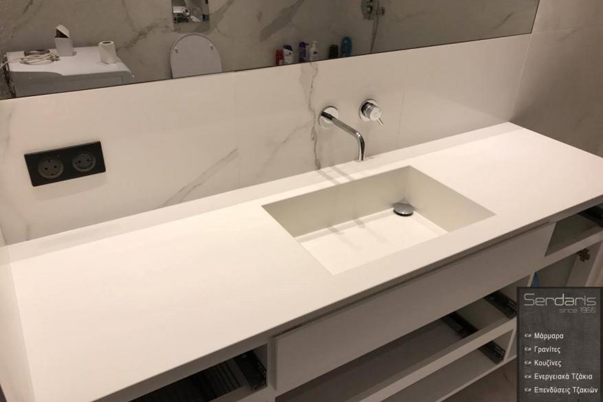 2025 Έπιπλο Μπάνιου & Κατασκευη Νιπτήρα Royale Blanc HanStone